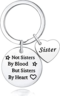 Sister Keychain Sister Gift Not Sisters By Blood But Sisters By Heart Keyring Friendship Keychain Birthday Graduation Gift