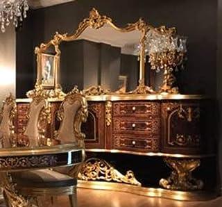 Casa Padrino aparador Barroco Espejo marrón/Oro Antiguo 305 x 50 x A. 232 cm - Gabinete de Madera Maciza Adornada con Espe...