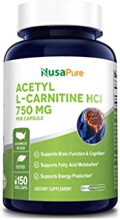 Acetyl L-Carnitine 1000mg 200 Capsules (Non-GMO & Gluten Free) High Potency Acetyl L Carnitine HCL (ALCAR) Supplement Pill...
