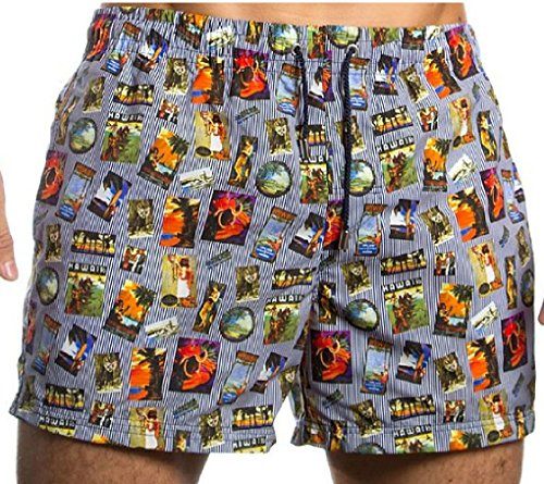 HOM Herren Badeshort 10119950 Hawai Stripes Boxer Short, Gr. 5 (M), Mehrfarbig (Multi-Colour M023)