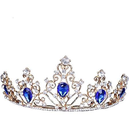 FRCOLOR Corone di Regina di Strass Blu Accessori per Corona di Capelli da Sposa con Corona di Strass da Sposa