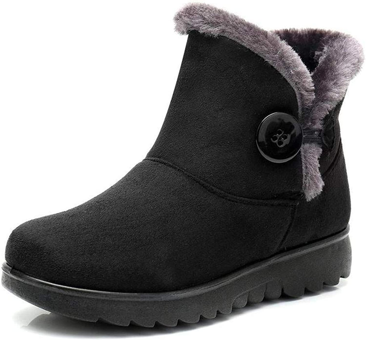 T-JULY Womens White Boots Warm Wedge Ankle Boots Girls Round Toe Flat Winter Fur Ankle Boots Snow shoes Plus Size