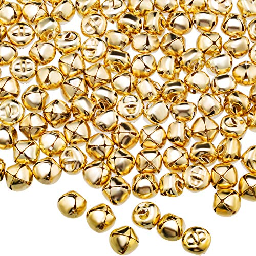 Jingle Christmas Bells, 300 Pieces Craft Bells, DIY Bells for Wreath, Holiday Home and Christmas Decoration (Gold, 0.5 inch)