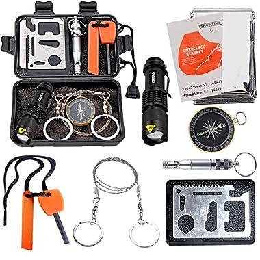 EMDMAK Survival Kit Outdoor Emergency Gear Kit for Camping Hiking Travelling or Adventures (New Black)