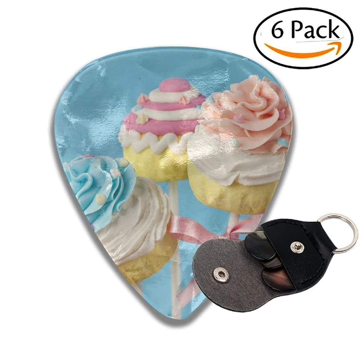 Colorful Cupcake Pops On Blue Background Stylish Celluloid Guitar Picks Plectrums For Guitar Bass .96mm 6 Pack