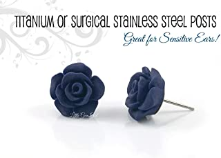 a2650509e 13mm Dark Navy Blue Matte Small Rose Stud Earrings Titanium or Stainless  Steel Nickel Free