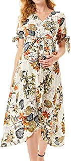TINGZI Women Skirts Maternity Pregnanty Short Sleeve Print Floral Frenulum Long Dress Slim Fit Comfy Dress