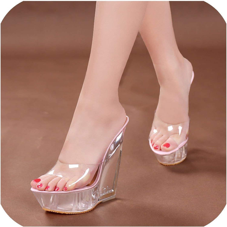 Beauty-inside Summer Thick-Soled high-Heeled Sandals Transparent Crystal shoes Waterproof Platform 15CM Wedge