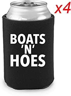 Funny Beer Coozies - Set of 4 Neoprene Koozies for Cans - Pontoon Boat Accessories, Lake, Pool by Crazy Cooz