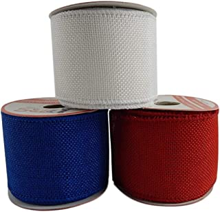 Patriotic Assortment (Pack of 3) Burlap Wired Red White Blue Fabric 2 1/2 Inch Wide Ribbon Rolls - Each 6 Yards Long (Soli...