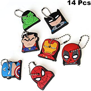 Finduat 14 Pcs Super Hero Key Cover Cap Superhero keychains Creative Silicone Cartoon Captain Anime Key Holder for Kid Toy Ornament Souvenirs