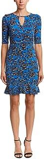 Taylor Dresses Womens 9099M Tossed Floral Jersey Floral Dress with Keyhole at Neckline. Short-Sleeve Dress - Blue