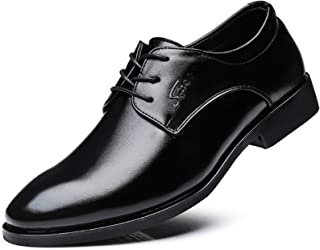 DADIJIER Oxfords de los Hombres Zapatos de Vestir Liso de 3 Ojos Encaje Encima de Costuras talón tacón tacón Redondo Punte...