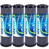 ICEPURE 1 Micron 2.5' x 10' Whole House CTO Carbon Sediment Water Filter Cartridge Compatible with DuPont WFPFC8002, WFPFC9001, SCWH-5, WHCF-WHWC, WHCF-WHWC, FXWTC, CBC-10, RO Unit, Pack of 4