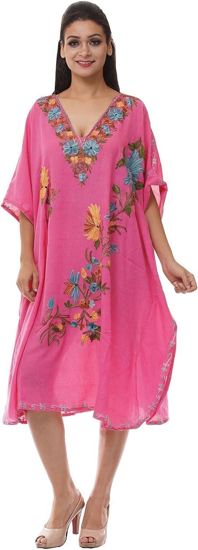 Odishabazaar Kashmiri Embroidered Womens Beachwear Cover up Swimsuit Swimwear Dress Caftan(uik-272)