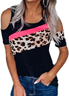 MU2M Women Shoulder Cold T-Shirt Blouse Summer Short Sleeve Leopard Print Tops