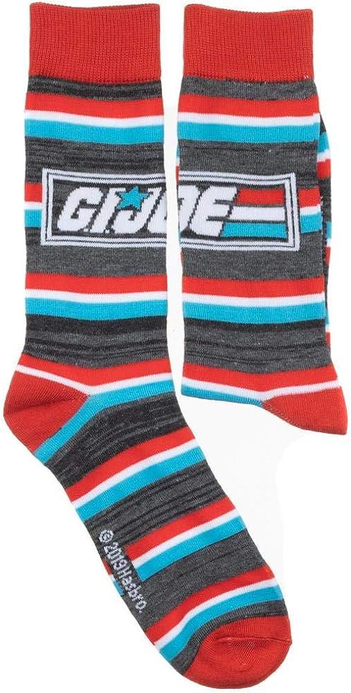 Mens GI Joe Action Figure Striped Crew Socks