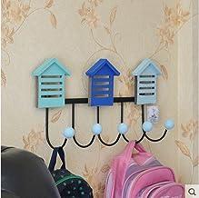 WANDOM Mediterrane Veranda Jas en hoed Haak Decoratieve Haak Achter De Deur Houten Leuke Huis-Type Kapstok