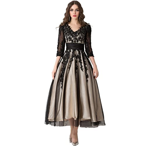 0dabb958fb Snowskite Women s Black Lace Applique Tulle Long Formal Evening Dress