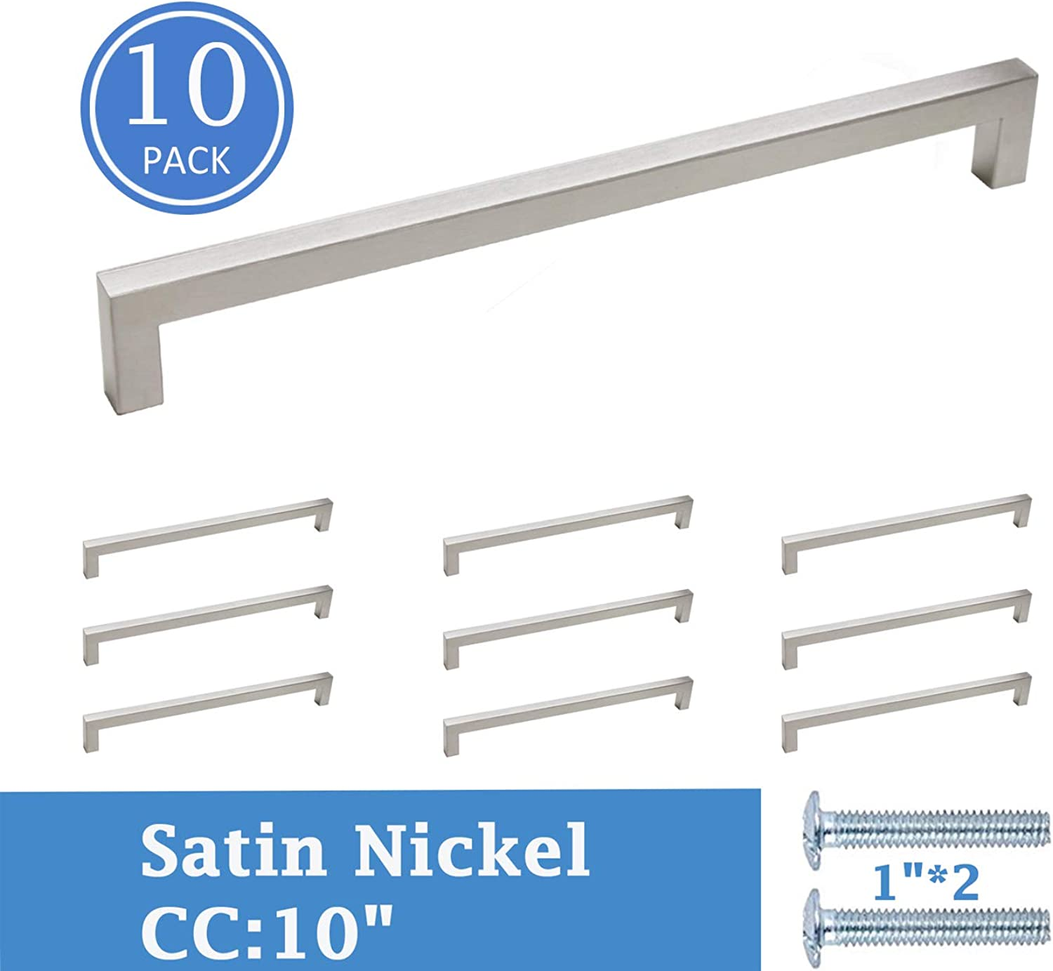 Knobonly Brushed Nickel 0.48  Square Cabinet Hardware Drawer Pulls and Handes 10  Holes Distance, 10 Pack