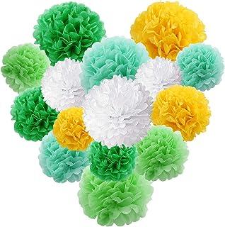 15 Packs Paper Flowers Pom Poms Decorations The Dinosaur Theme Green Yellow White Tissue Paper Flowers Balls Set for Dinos...