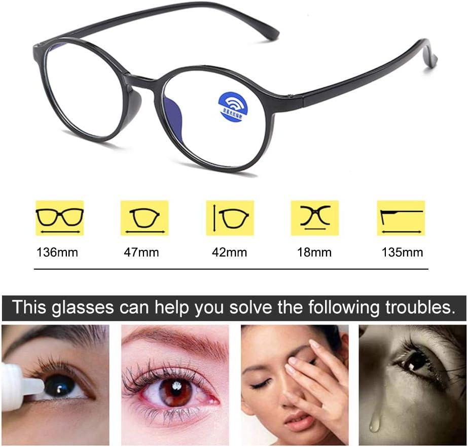 Blue Light Blocking Computer Glasses for Women Men Anti Eyestrain Blue Light Filter Lens Lightweight TR90 Eyeglasses Light Gray Fedaog