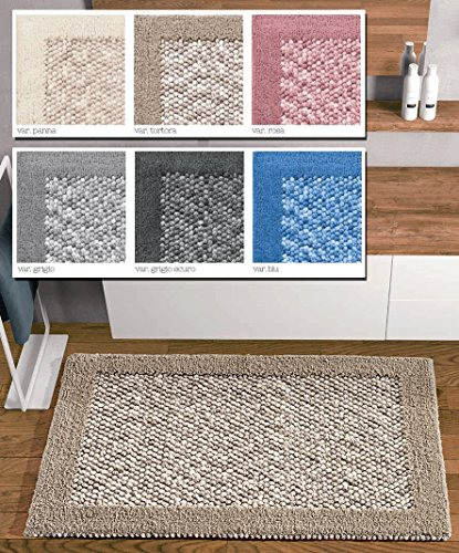 Centesimo Web Shop Tappeto Bagno in 3 Misure E 6 Colori 100% Cotone Jacquard Antiscivolo - Colori Moderni Moderno - 70x140 cm Panna
