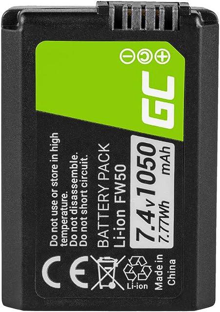 Green Cell® NP-FW50 Batería para Sony Alfa Alpha 7 7R A7 A7R A7S I-II A3000 A5000 A5100 A6000 A6300 NEX-3 3N 5 5N 5R 5T 6 7 C3 F3 RX10 I-IV SLT-A33 A35 A37 Cámara Full Decoded (1050mAh 7.4V)
