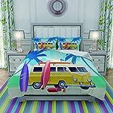 FYCORDB Juegos de Fundas para edredon,Ropa de Cama,Summer Colorful Camper Van Wagon Truck Surf Surfing Vacation,Fibrae Xtrafina,Edredones y 2 Almohadas