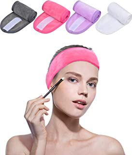 Sinland Spa Headband for Women 4 Counts Adjustable Makeup Hair Band with Magic Tape,Head Wrap for Face Care,Mask, Makeup and Sports