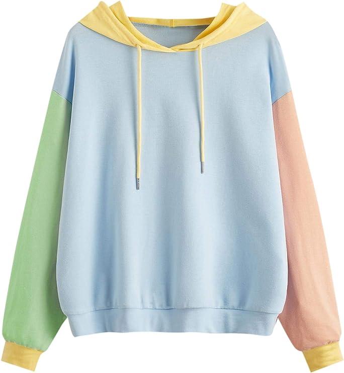 80s Sweatshirts, Sweaters, Vests | Women SweatyRocks Womens Long Sleeve Floral Print Pullover Hoodie Sweatshirt Tops  AT vintagedancer.com