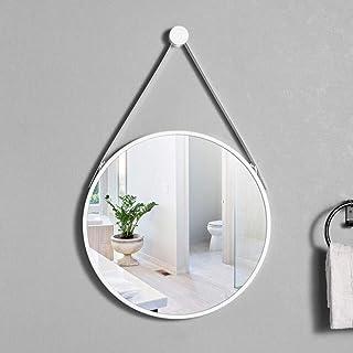 XZPENG Bathroom Hanging Mirror, Wrought Iron Creative Nordic Geometric Round Vanity Mirror Makeup Mirror,for Living Room/Bedroom/Toilet/Hallway (Color : White, Size : 50CM)