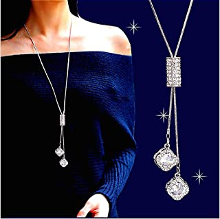 Cathercing Flower Rhinestone Pendant Long Necklace for Women Sweater Chain Statement Necklace Choker Adjustable Elegant Jewelry Accessories Dressy Collocation Winter Evening Party Wedding