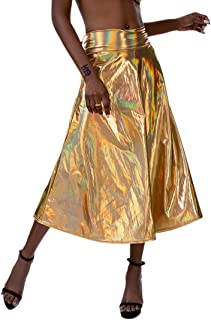 Shiny Metallic Long Skirt Holographic Flared Pleated A-line Party Skirt Bodycon Midi Maxi Skirt