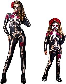 Disfraz Esqueleto Mujer Niño Mono Cosplay Trajes de Halloween Disfraz Carnaval Navidad