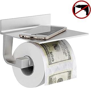Wopeite Portarrollos baño de papel higiénico de aluminio con estante para móviles, Instalación sin taladro, Acabado mate