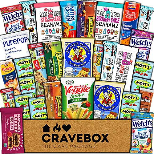 CraveBox Healthy Care Package (30 Count) Natural Food Bars Nuts Fruit Health Nutritious Snacks Variety Gift Box Pack Assortment Basket Bundle Mix Sampler College Students Office Staff Christmas
