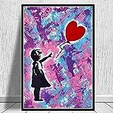 MJKLU Street Graffiti Art Abstract Banksy Style Girl Lost Her Heart Globo Lienzo Pintura Arte de la Pared Póster Impresiones Dormitorio Sala de Estar Oficina Estudio Decoración para el hogar