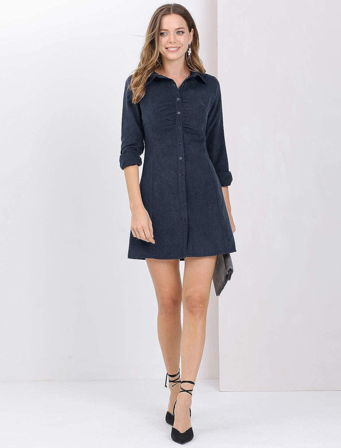 Allegra K Women's Vintage Mini Long Sleeve Button Front Shirt Dress