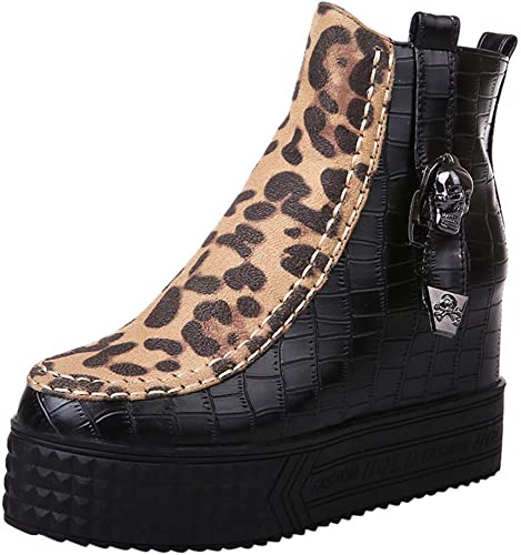 ZHRUI Bottes pour Femmes, Chaussures à Talons Hauts Hauts Hauts pour Femmes, Bottes Martin léopard zippées Chaussures à Bride (Couleuré   Noir, Taille   37 EU) 53e