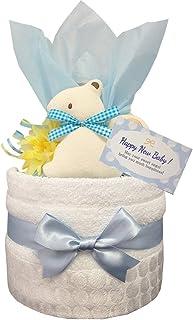 おむつケーキ [ 男の子/今治タオル : オーガニック / 1段 ] パンパース S12枚 (出産祝い に Sサイズ)1501 ダイパーケーキ 赤ちゃん ベビーシャワー ギフト 誕生日プレゼント