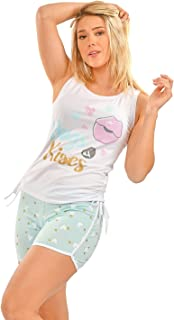 Habiba Cotton Gathered Sides Sleeveless Printed Top with Heart-Pattern Shorts Pajama Set for Women - White and Mint Green