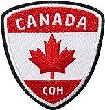 2 x Canada Flagg Patch gestickt 58 x 62 mm / Kanada Ahorn Fahne Flagge / Aufnäher Patches zum Aufnähen oder Aufbügeln / Patch Aufbügler Sticker Flicken Bügelbild Bügelflicken Abzeichen Reiseführer