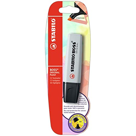 Surligneur - STABILO BOSS ORIGINAL Pastel - blister x 1 surligneur - poudre de gris