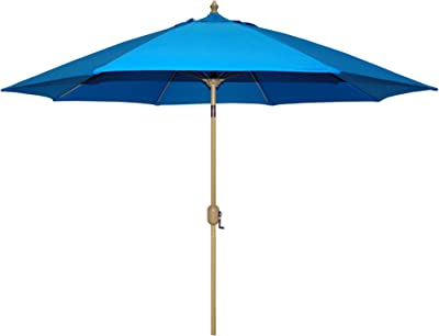 Tropishade Auto Tilt 9 ft Aluminum Umbrella 8 Ribs with Royal Blue Poly Cover