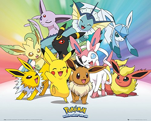 1art1 Pokemon - Pikachu, Evoli, Blitza, Flamara, Aquana, Nachtara Folipurba Glaziola Feelinara Mini-Poster 50 x 40 cm
