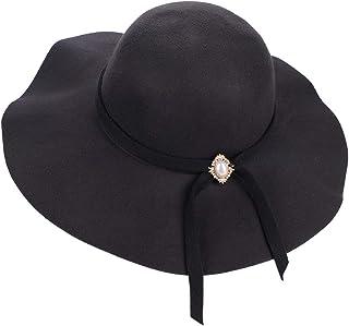 404a089edb20f IBLUELOVER Chapeau Hiver Femme Chaud Chapeau de Melon Bassin Casquette en  Feutre Laine Vintage Jazz Hat