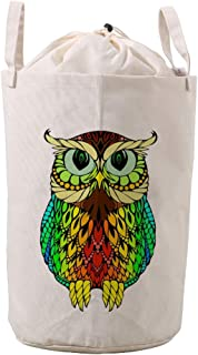 LifeCustomize Large Laundry Basket Hamper Cute Rainbow Animal Owl Collapsible Drawstring Clothing Storage Baskets Nursery Baby Toy Organizer