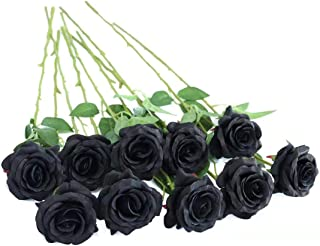 FLORRALIA Artificial Silk Roses Flowers for Halloween Party Home Decorrations in Black …