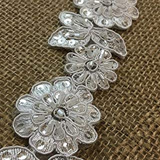 Bridal Lace Trim Alencon Embroidered Corded Sequined Organza Beautiful Floral, 2